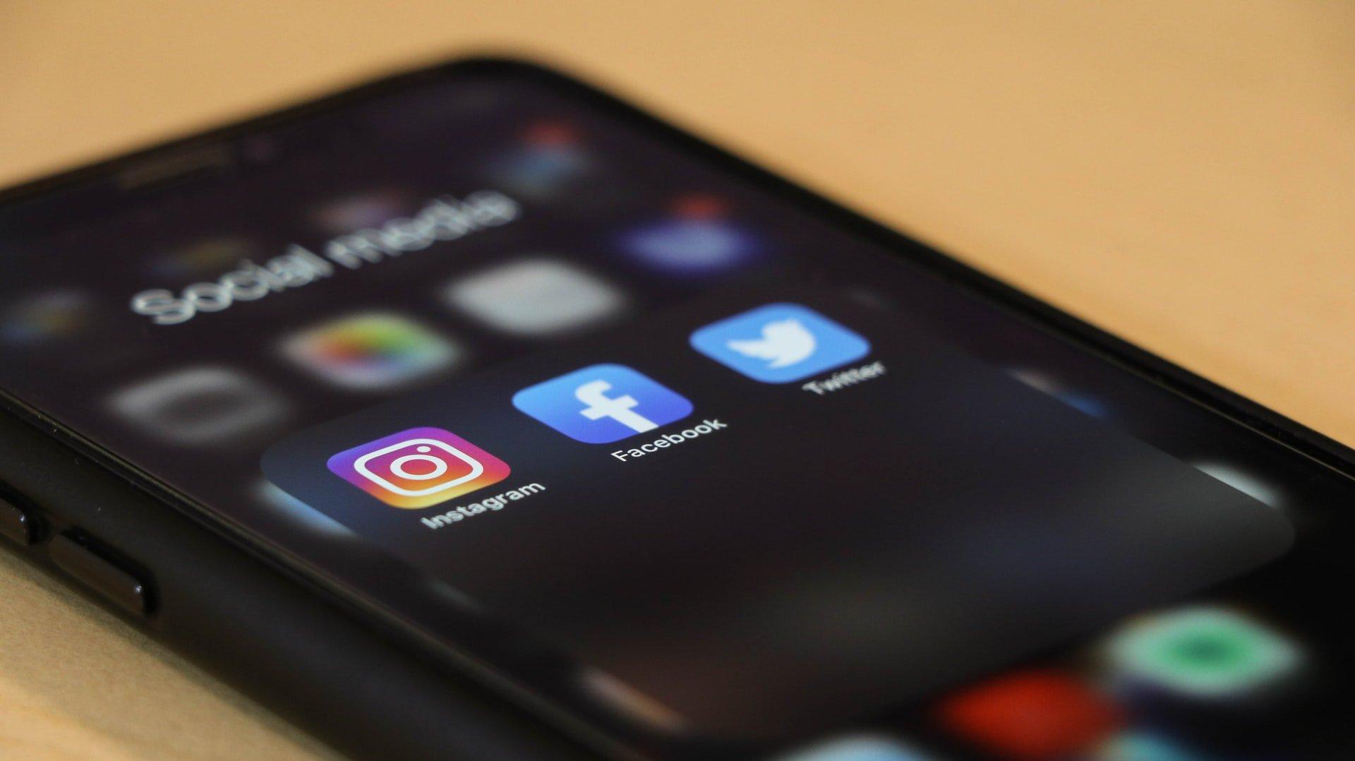 Social media apps on a smartphone.
