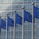 EU flags outside the EU headquarters.